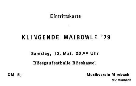"""Eintrittskarte für die erste """"Klingende Maibowle"""" 1979"""