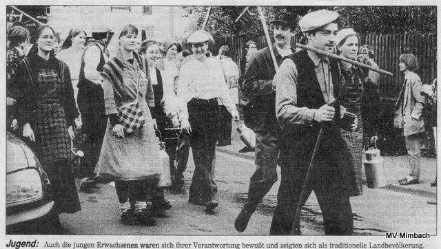 Bild aus Pressebericht anläßlich der 1200-Jahrfeier Mimbachs in 1996 (Quelle: Tagespresse, keine näheren Angaben vorhanden)