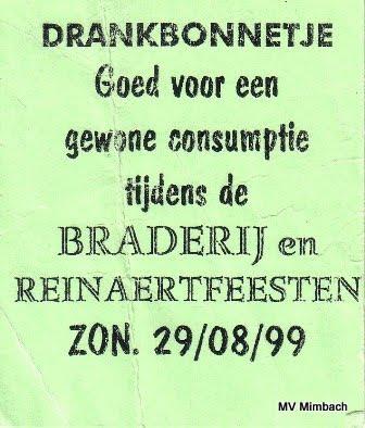"""Getränkebon vom Brauereifest """"Reinaert"""" 1999,Wer hat den nicht eingelöst?"""